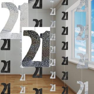 21. Geburtstag Glitzer Girlanden Schwarz + Silber