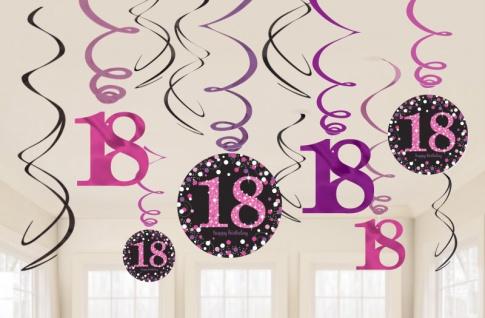 12 hängende Girlanden Glitzerndes Pink und Schwarz 18. Geburtstag