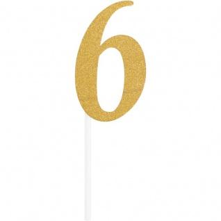 Glitzer Kuchen oder Deko Stecker Zahl 6 Gold