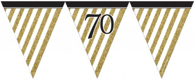 Wimpelkette 70. Geburtstag Black and Gold