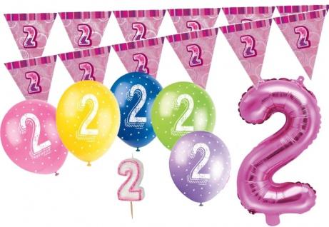 2. Geburtstag Pink Folienballon + Girlande + Luftballons + Kerze Deko Set - Zwei