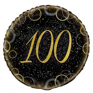 100. Geburtstag Folien Ballon Schwarz Gold