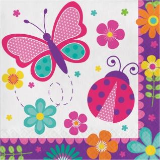 48 Teile Party Deko Set Schmetterlinge im Garten für 16 Personen Rosa Blau - Vorschau 3