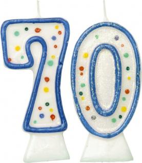 Glitzer Zahlenkerzen in Blau mit bunten Punkten 70
