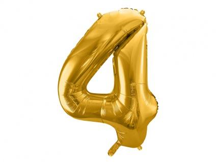 XXL Folien Ballon in Form der Zahl 4 Gold 86 cm