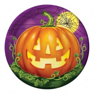 8 Halloween Papp Teller Kürbis Leuchte
