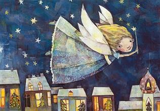 Weihnachtspostkarte fliegender Engel
