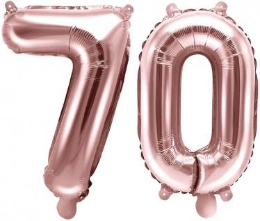 Folienballons Zahl 70 Rosegold Metallic 35 cm