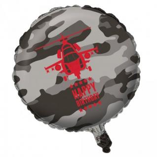 Geburtstags Folien Ballon Camouflage im Einsatz