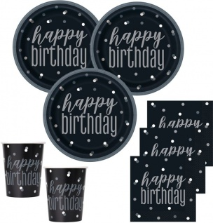 32 Teile Happy Birthday Black Dots Geburtstag Party Set 8 Personen