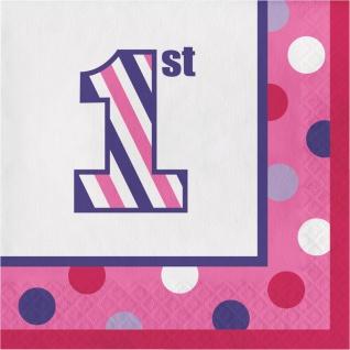 16 kleine Servietten 1. Geburtstag Punkte und Streifen Pink
