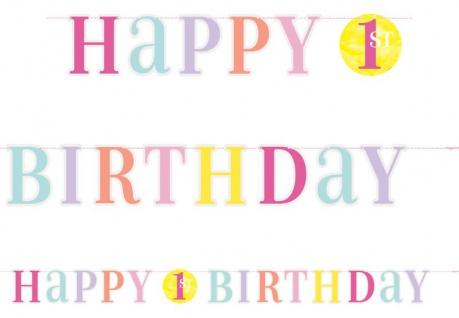 Geburtstags Girlande 1. Geburtstag Rosa Punkte