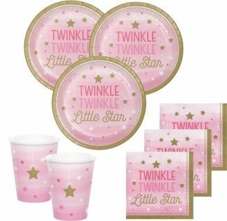 48 Teile Blinke Kleiner Stern Rosa Party Deko Set 16 Personen für die Baby Shower oder Kindergeburtstag - Vorschau 1