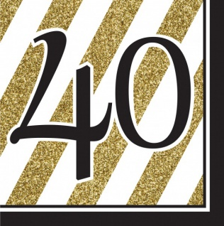 16 Servietten 40. Geburtstag Black and Gold