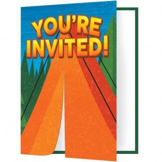 8 Einladungskarten Lagerfeuer, Zelten und Angeln