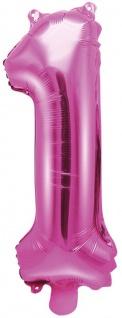 Folienballon Zahl 1 Pink Metallic 35 cm