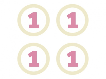 4 Papier Aufkleber für Kronen zum 1. Geburtstag Rosa