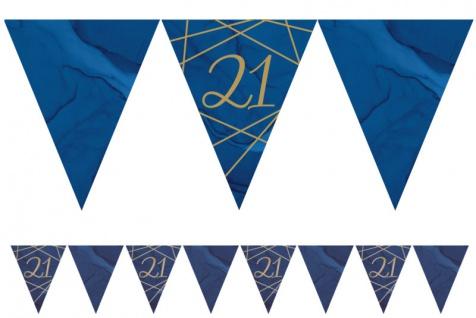 21. Geburtstag blauer Achat Wimpel Girlande aus Papier 3, 7m