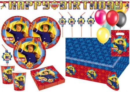 XL 64 Teile Feuerwehrmann Sam Party Deko Set für 8 Kinder