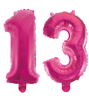 Kleine Folienballons Zahl 13 Pink Metallic 40 cm