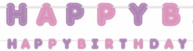 Rosa Happy Birthday Geburtstags Girlande am Satinband