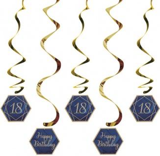 5 hängende Girlanden zum 18. Geburtstag blauer Achat