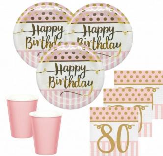 36 Teile Pink Chic Party Deko Set zum 80. Geburtstag in Rosa und Gold Glanz für 8 Personen