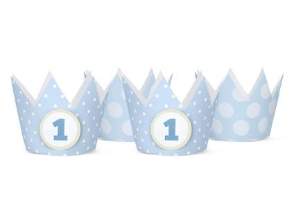 4 Party Krönchen Hellblau + inkl. 4 Aufkleber zum 1. Geburtstag - Vorschau 1