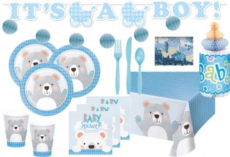 XXL 61 Teile blaues Bärchen Party Deko Set zur Babyparty für 8 Personen