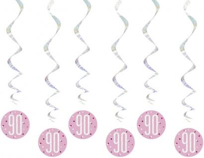 6 hängende Swirl Girlanden Pink Dots Glitzer zum 90. Geburtstag