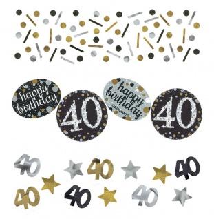 Deko Konfetti 40. Geburtstag in Silber und Gold Glitzer
