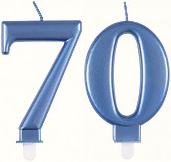 Zahlenkerzen in Blau Metallic 70