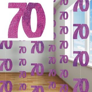 70. Geburtstag Glitzer Girlanden Pink