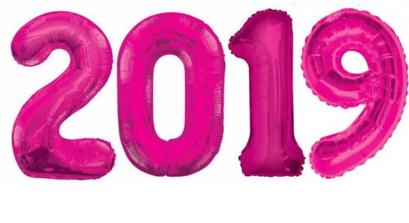 Folien Ballon Zahl 2019 in Pink - XXL Riesenzahl 86 cm zum Silvester, Neujahr, Jahreszahl - Jumbo - Geburt, Erster Geburtstag