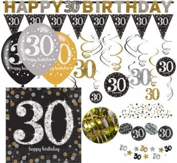 XL 38 Teile zum 30. Geburtstag Gold Glitzer für 16 Personen