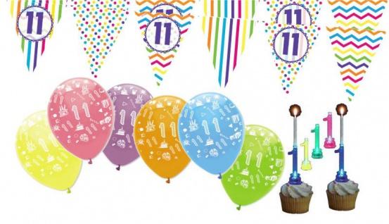 11. Geburtstag Girlande + Luftballons + Kerze Deko Set - Elf