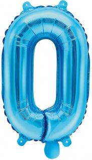 Folienballon Zahl 0 Blau Metallic 35 cm