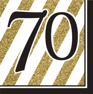 16 Servietten 70. Geburtstag Black and Gold