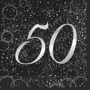 32 Teile edles Party Deko Set zum 50. Geburtstag in Schwarz Silber foliert für 8 Personen - Vorschau 2