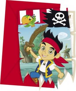 6 Einladungskarten Jake und die Nimmerland Piraten