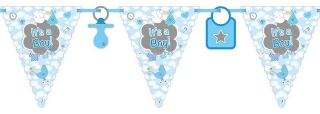 Wimpel Girlande Baby Party Storch Blau