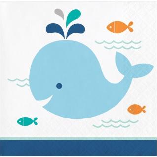 16 kleine Servietten Happy Baby Wal Party Blau