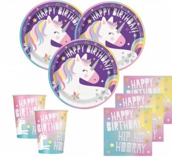 48 Teile Lila Party Einhorn Party Deko Set für 16 Kinder