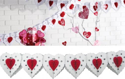 Weiß Rote Herzen Papiergirlande