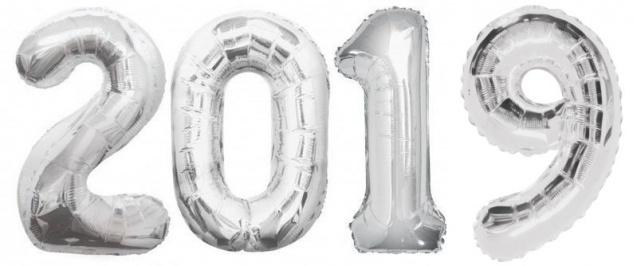 Folien Ballon Zahl 2019 in Silber - XXL Riesenzahl 86 cm zum Silvester, Neujahr, Jahreszahl