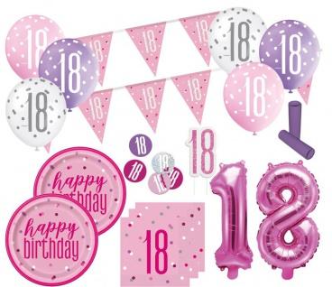 XL 36 Teile 18. Geburtstag Pink Dots Party Set 8 Personen
