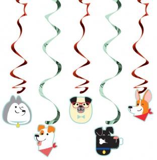5 hängende Girlanden Hunde Party