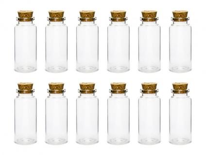 12 kleine Glas Fläschchen mit Korken 7, 5 cm