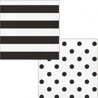 16 Servietten Streifen und Punkte in Schwarz