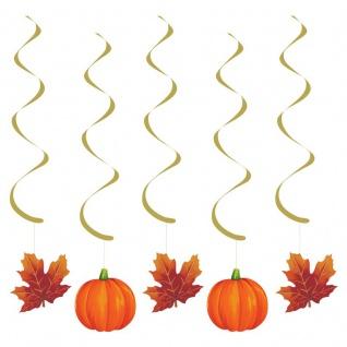 5 hängende Girlanden Kürbis und Herbstlaub